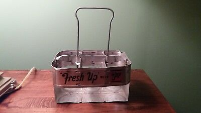 Fresh Up with 7Up Auminum Six Pack Soda Bottle Carrier PRIME VINTAGE CONDITION