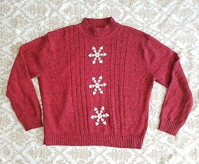 Company Collection Red Wine with White Snowflake Christmas Heavy knit Sweater 1x