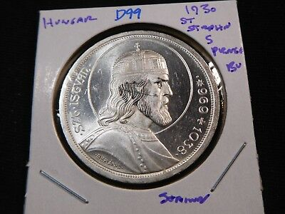D99 Hungary 1930 St. Stephens 5 Pengo BU Stained