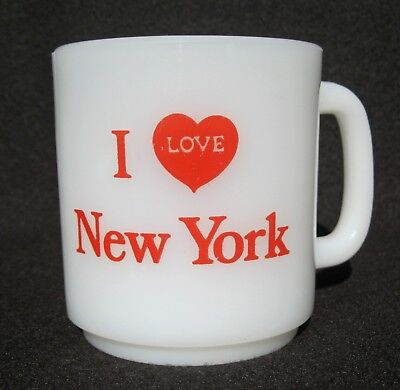 Vintage White Milk Glass I LOVE NEW YORK Glasbake Coffee Cup Mug With Red Heart