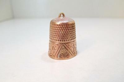4.5 Gram Antique Vintage 10K Yellow Gold Sewing Thimble Fancy Etched Design