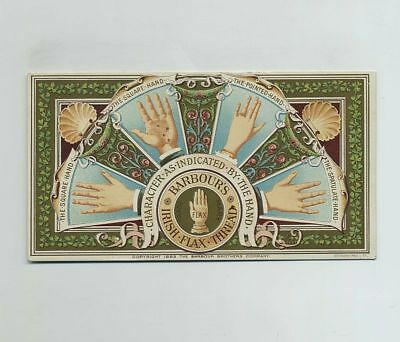 1893 Advertising Trade Card Barbour's Irish Flax Sewing Thread Palmistry wz630