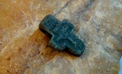 "RARE 14-16th CENTURY RUSSIAN ORTHODOX SMALL BRONZE CROSS ""CROWN OF THORNS"""