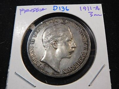 D136 German State Prussia 1911-A 3 Marks
