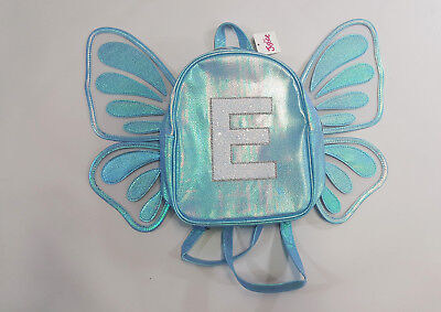"""NWT Justice Girls Mini Butterfly Wing Backpack Initial """"E"""" Name School Preschool"""