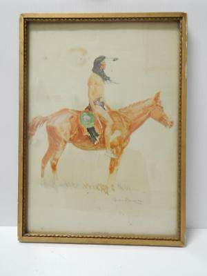 Antique / Vintage Frederic Remington Signed Indian Print - Orig Frame - Old