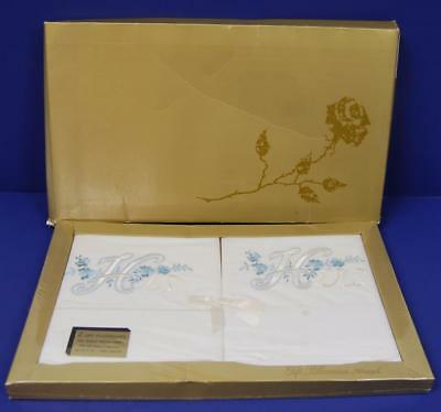 NEW vtg EMBROIDERED HIS HERS RIEGEL PILLOW CASE set gold white sweet WEDDING