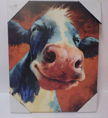 Cow Red Multi-Color Canvas Painting Modern Wall Art Decor size 20x16