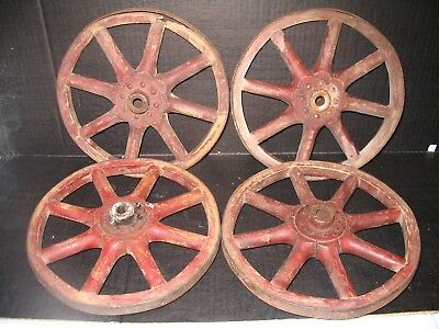 """4 Old Red Paint Wood Spoked Small Wagon Wheels 10"""" Cast Iron Rims"""