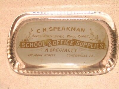 Speakman School Office Supply Coatesville PA EARLY Glass Advertising Paperweight