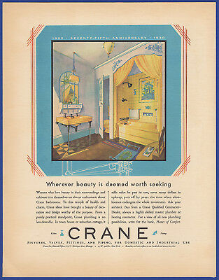 Vintage 1930 CRANE Fixtures Plumbing Bathroom Art Decor Ephemera Print Ad 30's