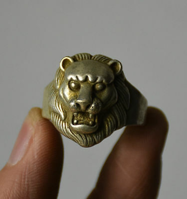 """Chinese  Miao Silver Foo Fu Dog Lion Head Finger Ring 30mm 1.181"""""""