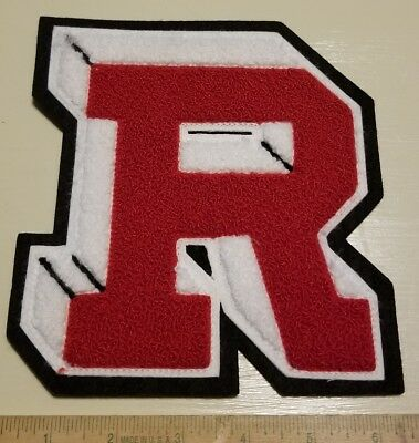 """Vintage """"R"""" Letterman Jacket Patch Chenille Antique 6"""" x 7"""" Red and White"""