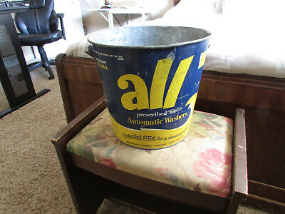 Vintage Empty ALL AUTOMATIC WASHER Metal Laundry Soap Bucket 25 Lbs Monsanto