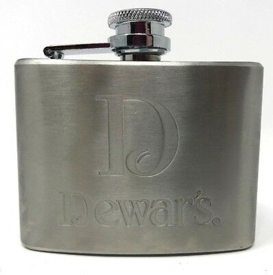 Dewar's Scotch Promotional 4 ounce Stainless Steel Hip Flask New