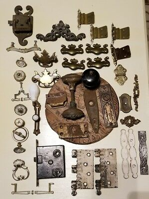 Vintage 40+ Architectural Salvage Door Knobs Hinges Backplates Pulls Box Lock