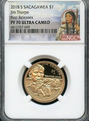 2018 S Sacagawea $1 Jim Thorpe FIRST RELEASES NGC PF70 Ultra Cameo (RED)