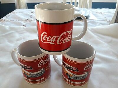 2002 Coca-Cola 1957 Route Salesman's Car Mugs / Cups Set of 2 PLUS a 1996 Gibson