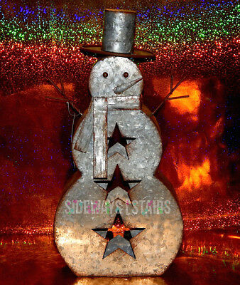 "16"" RUSTIC METAL SNOWMAN Christmas decoration indoor/outdoor holiday decor rust"