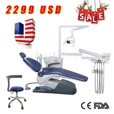 Dental Unit Chair Computer Controlled PU Hard Leather with Stool DC Motor TOP