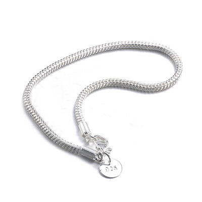 a74555c8d807d4 Wholesale 925 Silver Bracelet 3mm Snake chain Men Women Fashion jewelry  Gift Hot