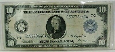 1913 Ten Dollar Currency $10 Dollars Note Large Bill Paper Money Andrew Jackson