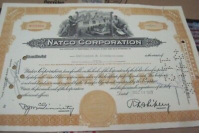NATCO Corp. OLD CANCELED STOCK  CERTIFICATE  1951