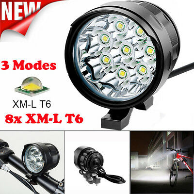 80000 Lumens 8x T6 LED 3 Modes Bicycle Lamp Bike Light Headlight Cycling Torch