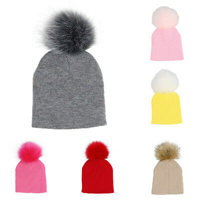 ITS- Cute Pompom Beanie Cap Winter Toddler Baby Boy Girl Elastic Knitted Hat Rap