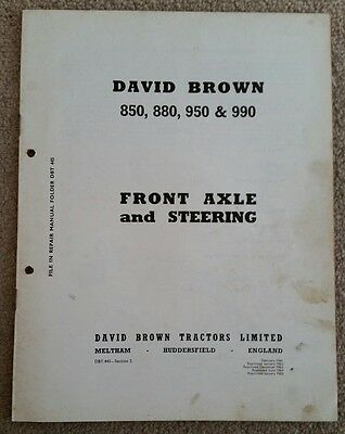 David Brown 850 880 950 990 Implematic Front Axle & Steering Service Manual