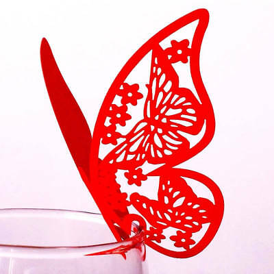 10-50pcs Paper Butterfly Wine Glass Cup Cards Laser Cut Wedding Name Place Card