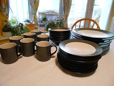 Denby Intro (Black)  stripes-bowls, plates and mugs-(not used?