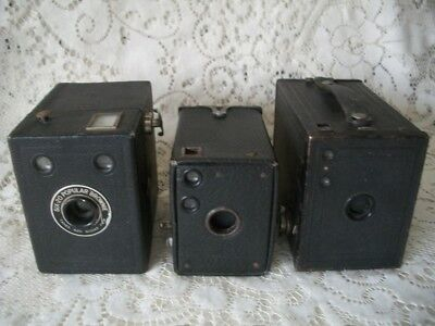 3 Vintage Kodak Box Brownie Camera's No 2 Model F, No 0 Model A, Six 20 Popular