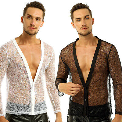 Men's Long Sleeve Transparent Fishnet Mesh Tank Top T-shirt Tee Muscle Clothing