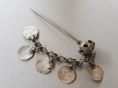 ANTIQUE OTTOMAN handcrafted silver alloy adornment Hair pin with silver coins