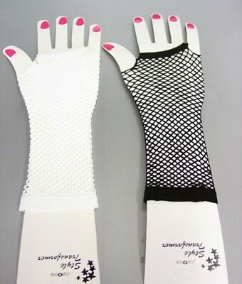 1 Pair of Elbow Length FISHNET FINGERLESS Gloves 90//10 NEW Choose Color