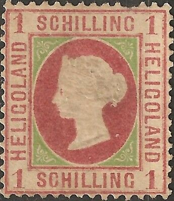 UN-USED 1869 HELIGOLAND 1 s STAMP British Empire COLONY Queen Victoria BAD SHAPE
