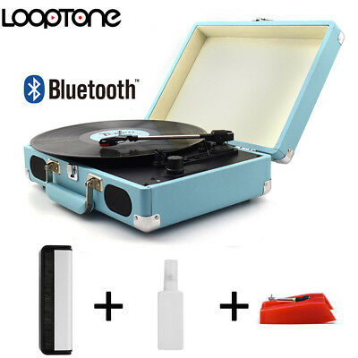 LoopTone Charging Portable Record Player Suitcase Turntable 3 Speed  Bluetooth