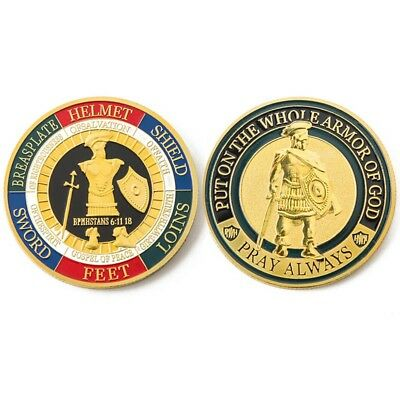 New Put On the Whole Armor Of God Commemorative Challenge Coin Collection Gold
