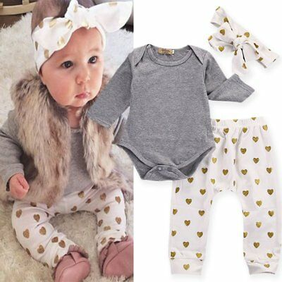 3Pcs/Set Baby Girls Romper Tops Leggings Pants Headband Outfits Clothes 0-12M