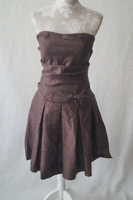 Vintage 80s short strapless brown evening party prom xmas dress Size UK 10