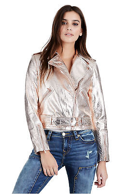 True Religion Women's Rose Gold Metallic Leather Moto Jacket