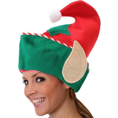 ADULT SANTA ELF HAT WITH PIXIE EARS IN RED /& GREEN CHRISTMAS FANCY DRESS W38530
