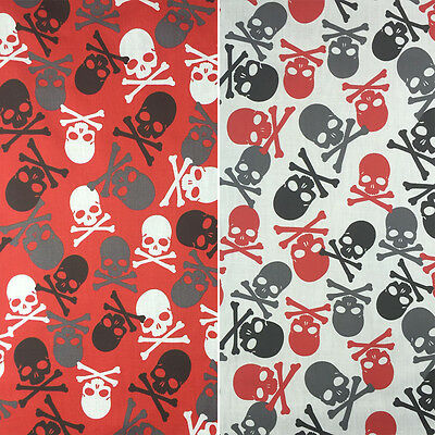 "Halloween Poly Cotton Printed Mega Skulls Crafting Fabric 45"" - 114cm Width"