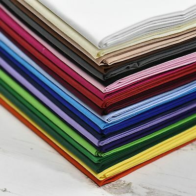 "100% Cotton Fabric Sheeting Plain Solid Colours Craft Material 60"" Wide Per Mtr"