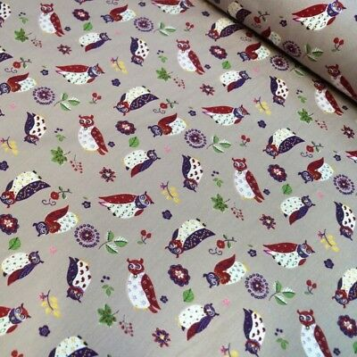 100% Cotton Poplin Fabric Rose & Hubble Owls Leaves & Flowers