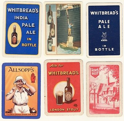 Orig 6 x brewery, ales, beers old playing cards, Allsopp's, Whitbread, Foster's
