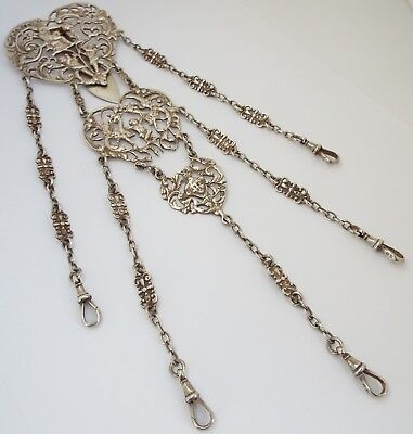 Wonderful Rare English Antique 1892 Solid Sterling Silver Heart Chatelaine Chain