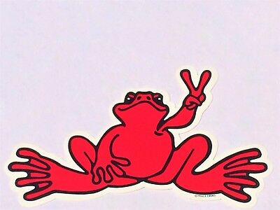 """Peace Frogs Red Frog Sticker - 6"""" x 3""""- High Quality Vinyl - Made in USA"""