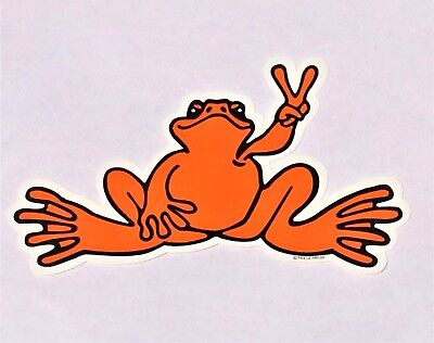 """Peace Frogs Orange Frog Sticker - 6"""" x 3""""- High Quality Vinyl - Made in USA"""